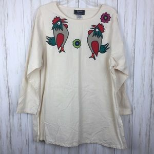 Vintage Tipicano Mexican Embroidered Chicken Tunic